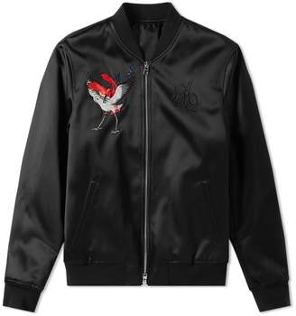 Alexander McQueen Satin Embroidered Bomber Jacket