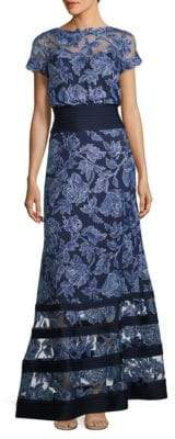 Tadashi Shoji Block Striped Floral Embroidered Gown $519 thestylecure.com