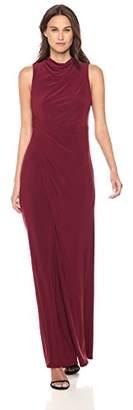 Vera Wang Women's Sleeveless Mock Neck Gown