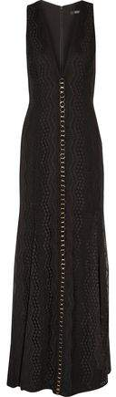 Badgley Mischka Embellished Paneled Crochet And Embroidered Gauze Gown