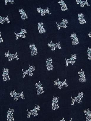 Barbour Woven Dog Print Wrap Scarf - Blue/White