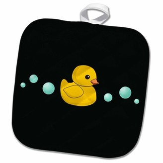 3dRose Cute Yellow Rubber Duckie cartoon with soap bubbles - kawaii ducky on black - adorable sweet duck - Pot Holder, 8 by 8-inch