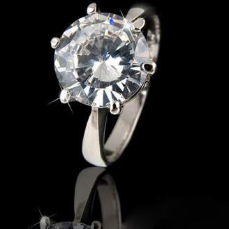 Ring 18k White Gold Plated Swarovski Crystal Lady Wedding R208 (brass-plated-gold, 7)