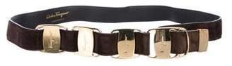 Salvatore Ferragamo Suede Embellished Belt