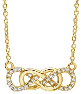 Lafonn 18K Yellow Gold Plated Sterling Silver Micro Pave Simulated Diamond Double Infinity Pendant Necklace