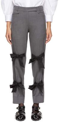 Simone Rocha Grey Cropped Bows Trousers