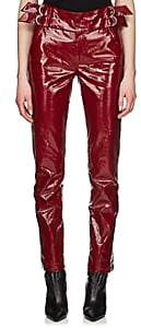Isabel Marant Women's Ennya Laminated Cotton-Linen Trousers - Dark Red