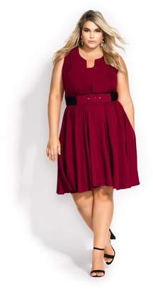 City Chic Citychic Vintage Veronia Dress- cerise
