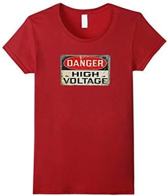DANGER HIGH VOLTAGE Old Rusted Danger Sign T-shirt.