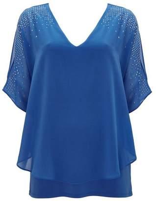 Wallis Blue Embellished Shoulder Top
