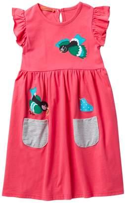 Funkyberry Bird Ruffle Dress (Toddler & Little Girls)