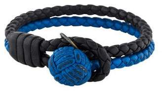 Bottega Veneta Two-Tone Intrecciato Leather Knot Bracelet