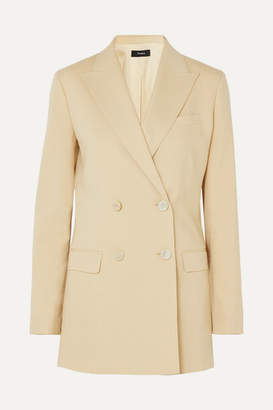 Theory Double-breasted Wool-blend Canvas Blazer - Beige