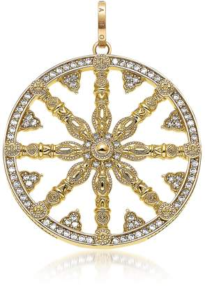 Thomas Sabo Yellow Gold Plated Sterling Silver Round Pendant w/White Cubic Zirconia