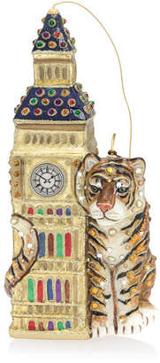 Jay Strongwater Big Ben with Tiger Glass Christmas Ornament
