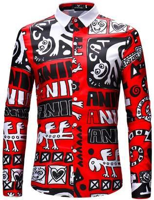 JJCat Men's Button-Down Collar Long Sleeve Monster Words Print Casual Shirts(XL,)