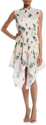 Self-Portrait Asymmetric Graphic Floral-Print Dress