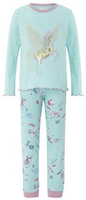 Monsoon Peggy Unicorn Jersey Pyjama Set