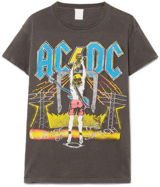 MadeWorn Ac/dc Distressed Printed Cotton-jersey T-shirt - Anthracite