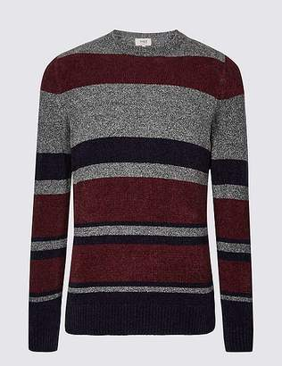 Marks and Spencer Cotton Blend Chenille Striped Jumper