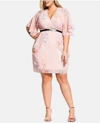 19020dfe4a6fd City Chic Trendy Plus Size Belted Faux-Wrap Dress