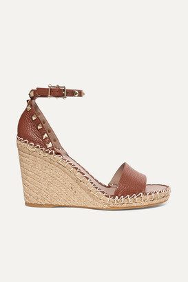 Valentino The Rockstud 105 Textured-leather Espadrille Wedge Sandals