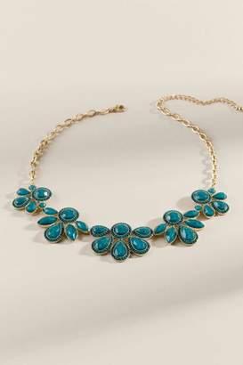 francesca's Brenna Statement Floral Necklace - Forest