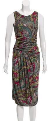 Etro Sleeveless Midi Dress Grey Sleeveless Midi Dress