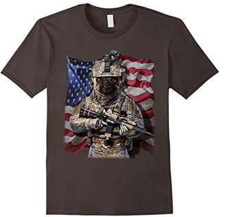 Commando USA America Patriot Grumpy Pug Dog as Army T-Shirt