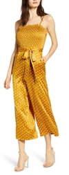 J.o.a. Polka Dot Tie Waist Wide Leg Crop Jumpsuit