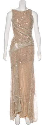 Carmen Marc Valvo Sequined Evening Dress