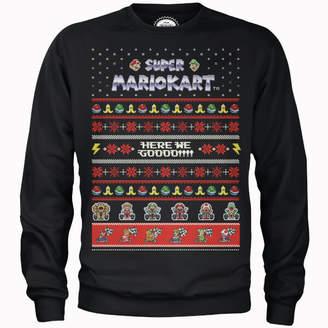 Nintendo Super Mario Mario Kart Here We Go Black Christmas Sweatshirt
