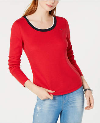Tommy Hilfiger Long-Sleeve Waffle-Knit Top