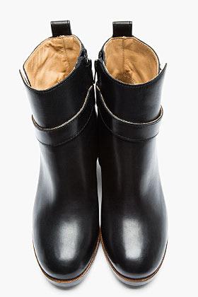 Maison Martin Margiela Black Leather Un-Buckled Boots