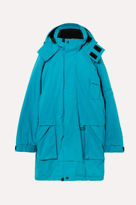Balenciaga Embroidered Oversized Canvas Parka - Blue