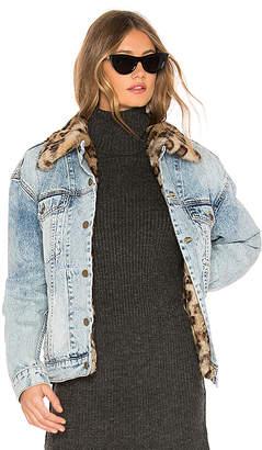 Pam & Gela Rabbit Fur Lined Oversized Jacket.