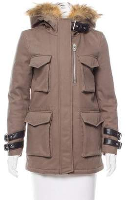 The Kooples Fur-Trimmed Hooded Coat