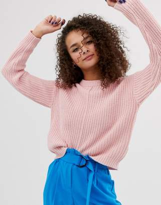 Bershka seam front jumper in pink
