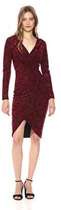 Rachel Roy Women's L/s Floral Terry Zip Front Dress