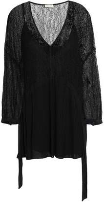 By Malene Birger Lace-Paneled Pleated Georgette Blouse