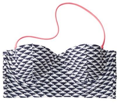Xhilaration Juniors Geometric Midkini Swim Top -Navy/White