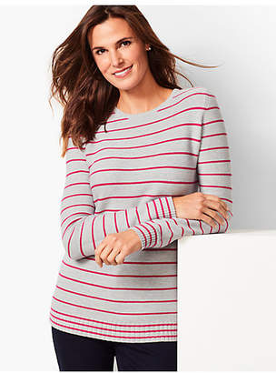 Talbots Textured-Stripe Crewneck Sweater