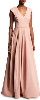 Halston V-Neck Cap-Sleeve Silk Faille Evening Gown