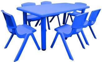 OliandOla Primary Kids' 7-Piece Rectangular Table & Chair Set, Solid Colour, Blue