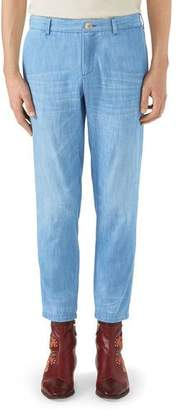 Gucci Stone-Bleached Denim Chino Pants