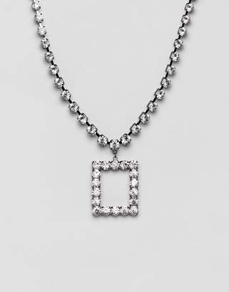 Asos Design DESIGN statement necklace with rectangle pendant in crystal