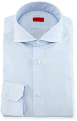 Isaia Tonal Micro-Dash Dress Shirt, Light Blue