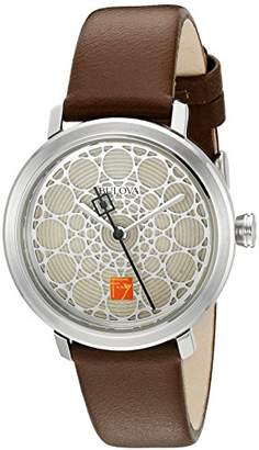 Bulova Women's Quartz Stainless Steel and Leather Dress Watch, Color:Brown (Model: 96L211) $112.50 thestylecure.com