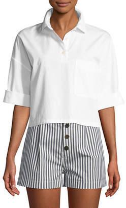 Kule The Keaton Striped Cropped Short-Sleeve Shirt