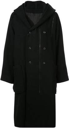 Yohji Yamamoto hooded double breasted coat